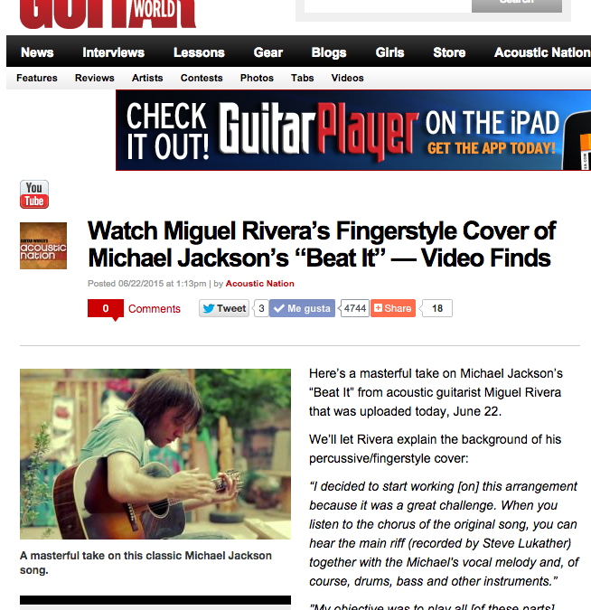 "The Acoustic guitar arrrangement of Michael Jackson's ""Beat it"" by Miguel Rivera become viral with more than 1 million views in just 3 days"