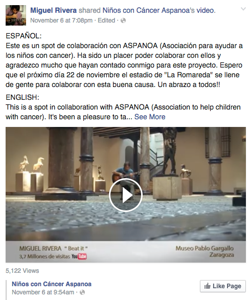 Miguel Rivera works with ASPANOA to help children with Cancer
