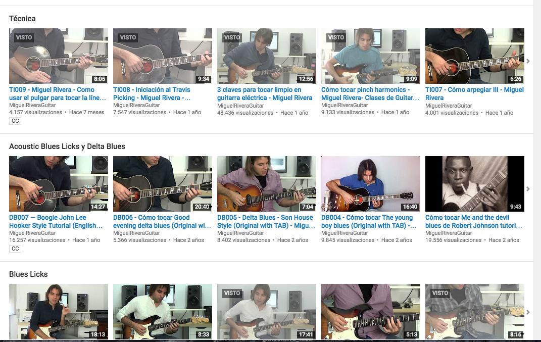 TABs y Backingtracks Lecciones de Youtube 2010-2015